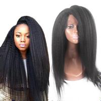 american short hairstyles - Italian Yaki African American Full Lace Human Hair Wigs Best Glueless Peruvian Coarse Yaki Afro Kinky Straight Lace Front Wigs Density