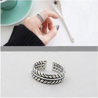 basket weave china - Man s male personal classic sliver ring Three layers of basket rope weave ring Avoid allergy antique finish ring adjustable youth band rings