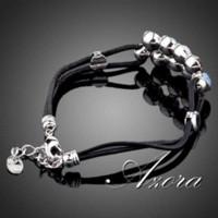 agate brooches - AZORA Unique Design Platinum Plated Stellux Austrian Crystal Strand Bracelet TS0013 bracelet bluetooth bracelet brooch