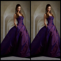 Wholesale 2016 Charming Purple Evening Dresses Sleeveless Elie Saab Dresses Ball Gown Ruched Taffeta Long Dress Prom With Pocket