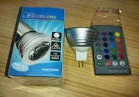 Wholesale LED RGB Bulb W Color Changing W LED Spotlights RGB led Light Bulb Lamp E27 GU10 E14 MR16 GU5 with Key Remote Control DHL free