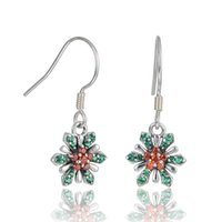 Wholesale Sterling Silver Christams Gifts Snowflwer With Red Swarovski Crystal Earrings For Women No50 lw ER1025