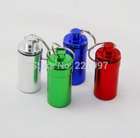 Wholesale Mini keychain round aluminum pill bottle travel aluminum pill box keyring Tablet Box Container