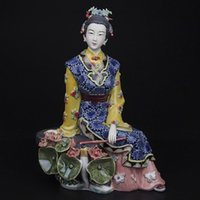 antique ceramics collectibles - Antique Painted Porcelain Statue Ceramic Sculpture Art Collectibles Manual Chinese Traditional Angel Figurine Craft for Christmas Gifts