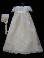 Wholesale Vintage Christening Gowns For Baby Girls Short Sleeves Jewel Neck Ribbon Sash Baptism Dresses High Quality First Communication Dress
