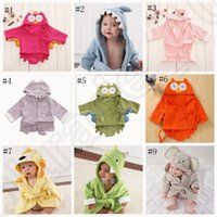 animal thermals - Kids Animal Bathrobe Toddler Girl Boy Baby Cartoon Pattern Towel Hooded Bath Towel Terry Wrap Bath Robes styles OOA758