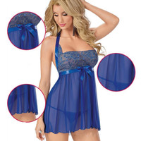 Wholesale Women Sexy Lingerie Sleepwear Night Gown Baby Doll Underwear Teddies Plus Size Dress Blue