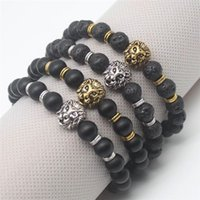 Wholesale Chains Bangles Gold Plated - Buddha Leo Lion Head Bracelets Fashion Antique Gold Plated Lava Stone Beaded Bangles Black Pulseras Hombre For Men Women