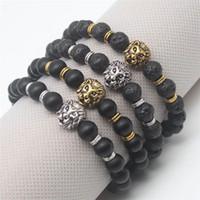 Wholesale Lion Gifts For Men - Buddha Leo Lion Head Bracelets Fashion Antique Gold Plated Lava Stone Beaded Bangles Black Pulseras Hombre For Men Women