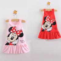 Wholesale New Cartoon Mouse Girls Dress Cotton Girls Clothes Sleeveless Flounced Princess Dress Cute Baby Girls Summer Dresses