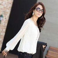 Wholesale 2016 New European Rinting Large Size Women Fat MM Bubble Sleeve Chiffon Shirt Loose Shirt Sunscreen Shirt S M L XL B