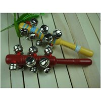 Wholesale 2pcs of wood rattles handbell toy quality gift for baby kids children party education and learning training bell ringer music