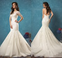 Cheap 2017 Amelia Sposa Ivory Lace Mermaid Wedding Dresses Sweetheart Backless Vintage Vestidos De Novia 2016 Court Train Bridal Gowns with Jacket