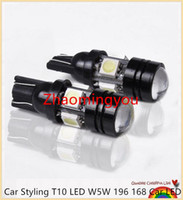 Wholesale 10PCS High brightness Car Styling T10 LED W5W Car LED Auto Lamp V W Light bulbs with Projector Lens for Tiguan Packing