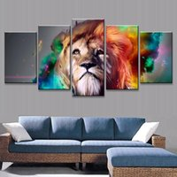 artistic wall panels - Fashion set Animal Wall Art Painting Colorful Lion Artistic Print On Canvas Wall Art Prints For Home Decor Color Multicolor Unframed