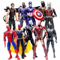 Wholesale DHL New Captain America Civil War LED Action Figures dolls toy children Avengers cartoon Iron Man minifigures PVC toys set