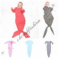 baby sleeping suits - Fedex DHL Free INS hot infant baby Mermaid sleeping bag stripped sleepsack baby romper blanket baby body suits Z528 B