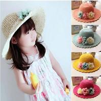 Wholesale 2016 Korean Spring summer Handmade flowers Children straw hat baby girls Beach Hats foldable kids sun hat T