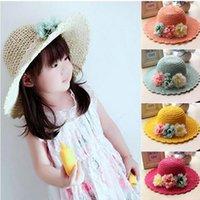 achat en gros de filles faits à la main chapeau de soleil-2016 printemps coréen été fleurs à la main Enfants chapeau de paille bébé filles chapeaux de plage pliable enfants chapeau soleil 3-8T