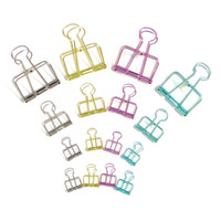Wholesale 3 Size Skeleton Binder Clips Metallic Hollow Out Notes Letter Paper Clip DIY bookmark Office Supplies Clip Holder Multi color