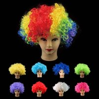 afro brazil - New Halloween Party Afro Wigs Colorful Christmas Cosplay Hairs Clown Funny synthetic Wig New Brazil football fans wigs