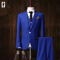 beige blazer for men - 2016 UR Royal Blue Winter Anzug Handmade Plus Size Costume Homme Blazer Tuxedo Wedding Suits For Men Custom Mde Men Suits