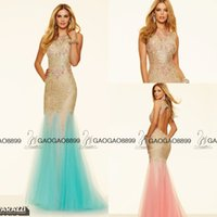 aqua power - Aqua Blush Tulle Mermaid Long Formal Evening Pageant Dresses Stunning Lace Beaded Detail Fly Away Skirt Arabic Prom Occasion Gowns