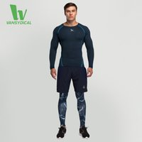 Wholesale Hot Sale Fitness Men Training Running Sports Tight Suit Basketball Soccer Speed Dry Long Sleeve T Shirt Pants Shorts Three Sets