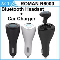 Wholesale Original ROMAN R6000 in Kit Wireless Earphone Bluetooth Sport Headset With Car Charger Handsfree Earphone For iPhone Samsung