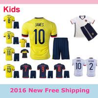 Wholesale Top Quality Colombia Kids Kit jersey FALCAO GUADRADO JAMES RODRIGUEZ GUARIN Kids Uniform football shirt
