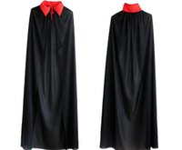 adult black cape - Halloween costume party dress Red collar single vampire cape god of death cloak Adult children HY1190