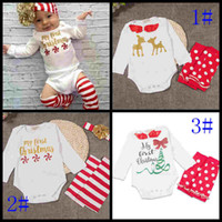 baby clothes holiday - 2016 new babies christmas outfits long sleeve romper headband leg warm set baby x mas holiday clothes infant toddler kids deer suit