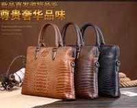 Wholesale 2016 New Arrival British business men crocodile pattern leather shoulder bag Messenger bag man briefcase shoulder bag big bag