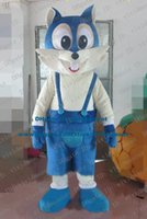 big cat teeth - Cowardly Blue Cat Bluecat Kitten Fox Mascot Costume Cartoon Character Mascotte Adult White Face Big Front Teeth ZZ1495 Free Ship