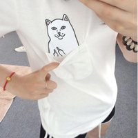 Wholesale Sea Mao Women T Shirt Summer Style T shirt Print Black Pocket Cat Harajuku Short Sleeve Couple Tee XL Plus Size
