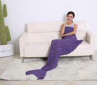 Wholesale Newest Adult Mermaid Tail Blanket Soft Hand Crocheted Sofa Blanket Mermaid Tail Sleeping Bags air condition blanket CM