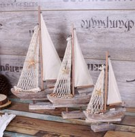 Wholesale lastest creative crafts Mediterranean ornaments S L sailing boat rural pine classic vintage model coffee bar home decor