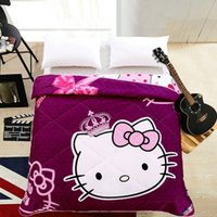 Wholesale Purple Princess Cat Thin Quilt Home Textile Summer Quilts for Kids Gift Washable Comforter Cartoon Blanket Not Included Pillowcas
