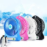 battery powered personal fan - Mini Electrical Portable Blue Plastic Fan Gift Personal USB Rechargeable Battery Power Bank Fan with LED Light and USB Cable