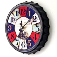 beauty beer - FuLe Home Decor Wall Clocks Decorative wall hanging Environmental beauty Shape of beer cover Eiffel Tower SC635