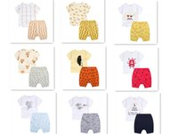 Wholesale INS Baby Boy Clothes utfits Summer Baby Boy Girls Fox Banana Printed T shirt Striped PP Shorts Sets Child Casual Clothes Suit