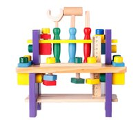 baby workbench - Baby Toys Children Wooden Toys Educational Wooden Tool Project Workbench Multifunctional Nut Combination Toy Gift