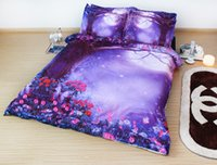 age comforters - JF HD Digital Print Romantic Wonderland Aged tree moon flowers bedsheets purple bedding set D quilt doona covers super king