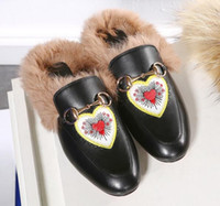 Wholesale Princetown Embroidered Fur Slide Loafers Women Slip on Gold tone Metal Horsebit Slides Black Rabbit Fur Casual Flats Moccasins