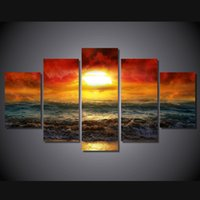 amazing oil paintings - 5 Set No Framed HD Printed amazing sunset artistic Painting on canvas room decoration print poster picture canvas original paintings