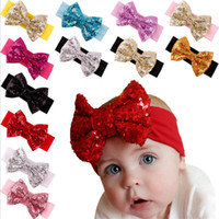 Wholesale Girl Hair Accessories Sequined Big Bow Baby Headbands paillette Headdress Soft Cotton Hairband Infant Toddler Christmas Gift Hot Sale KHA229