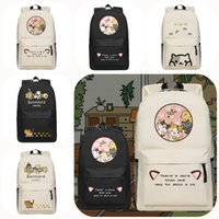 Wholesale Japanese Game Neko Atsume Cute Cat Unisex Shoulder School Bag Student Book Black and Khaki Backpack