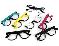 Wholesale 100pcs LJJG179 Factory Price Colorful Glasses Frame Plastic Eyeglasses Black Frame Colorful Temples Without Lens Fashion Decorative Glass