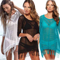 beach coverups women - New Beach Tunic Sexy Swimwear Cover Up Women beach cover up blouse Crochet Pareo Swimsuit coverups Summer Women Beach wear