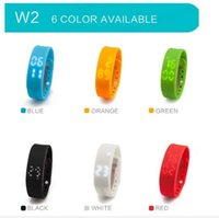 Wholesale 20 Smart Flex Wristband Fitness Tracker Fuel Band Smartband Wearable Electronics Wristband Activity Intelligent Bracelet W2